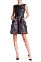 Anne Klein Jacquard Metallic Printed Fit & Flare Dress