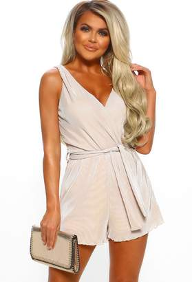 Pink Boutique Elegant Nude Plisse Wrap Playsuit