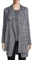 Misook Long-Sleeve Open-Front Jacket, Neutral Gray/Black