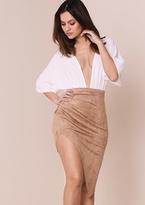 Missy Empire Tiana Camel Suede Asymmetric Midi Skirt
