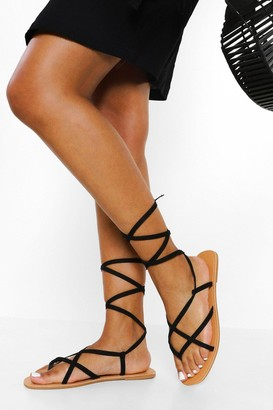 boohoo Wide Fit Strappy Ankle Tie Sandal