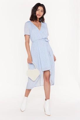 Nasty Gal Womens Short Sleeve Tie Floral Midi Dress - blue - 6