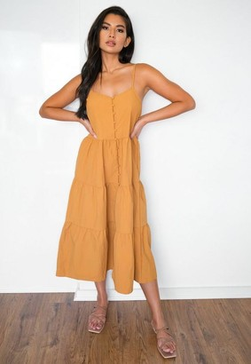 Missguided Mustard Strappy Tiered Midi Dress
