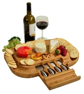 Picnic at Ascot Malvern Deluxe Bamboo Cheese Board with Cracker Rim and 4 Tools