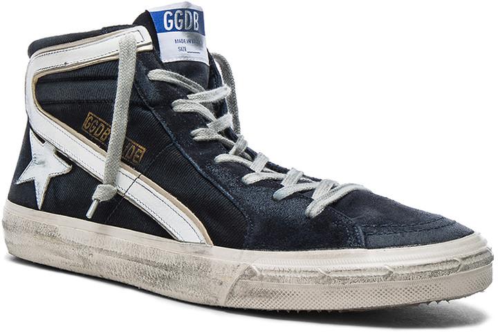 Golden Goose Suede Slide Sneakers in Navy Denim | FWRD
