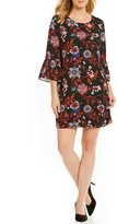 Sangria Embroidered Bell Sleeve Dress