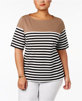 Karen Scott Plus Size Striped Button-Shoulder Top, Created for Macy's