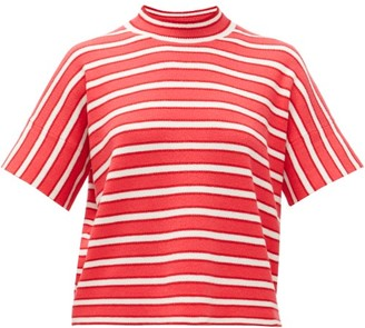 Barrie Striped Cashmere Sweater - Red White