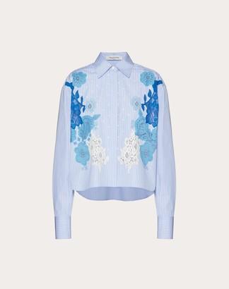 Valentino Intarsia Poplin Shirt Women Light Blue/blue Cotton 100% 40