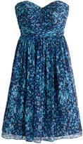 J.Crew Marbella strapless dress in watercolor silk chiffon