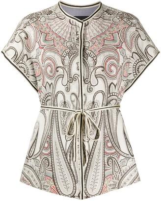 Etro Paisley Print Tie Waist Jacket