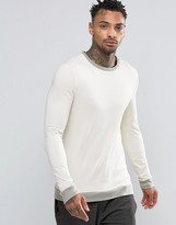 Asos Muscle Long Sleeve T-Shirt With Contrast Rib Hem And Cuffs