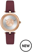 Ted Baker Bow Dial Rose Gold Case Burgundy Leather Strap Ladies Watch