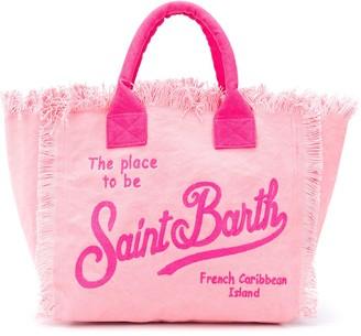 MC2 Saint Barth Logo Print Frayed Beach Bag