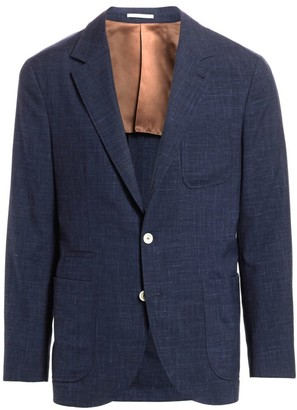 Brunello Cucinelli Textured Solid Three Patch Pocket Silk, Wool & Linen Jacket