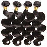 Connie Hair Brazilian Virgin Hair Body Wave 4 Bundles Grade 6A Unprocessed Human Weave Weft Mixed Length(26 26 26 26) Natural Black Total 400g