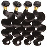 Connie Hair Peruvian Remy Hair Body Wave 4 Bundles Grade 7A Unprocessed Human Weave Weft Mixed Length(18 20 22 24)Natural Black Total 400g