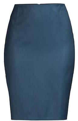 HUGO BOSS Vikena Superstretch Minidessin Lightweight Wool Pencil Skirt