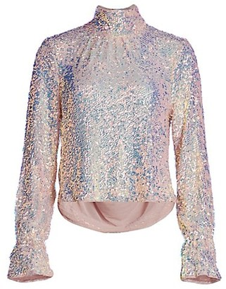 Free People Moonstruck Sequined Draped-Back Top