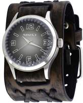 Nemesis #DXBB217K Men's Pointium Faceted Crystal Gradient Black Dial Wide Double X Leather Band Watch