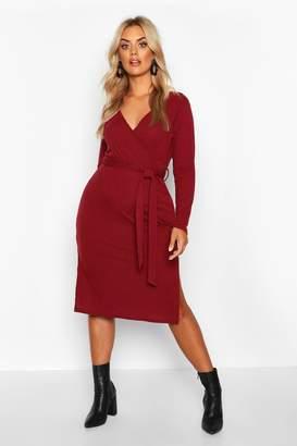 boohoo Plus Soft Rib Wrap Belted Midi Dress