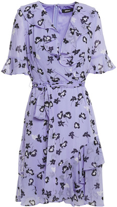 DKNY Wrap-effect Ruffled Floral-print Crepon Dress