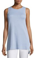 Eileen Fisher Long Silk/Cotton Interlock High-Low Shell, Petite