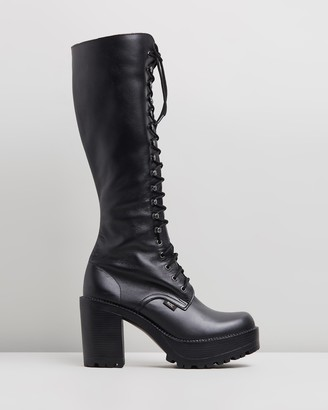 ROC Boots Australia - Women's Black Lace-up Boots - Lash Leather Platform Boots - Size 36 at The Iconic