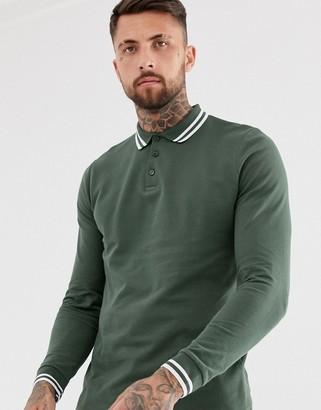 Asos Design DESIGN long sleeve tipped pique polo shirt in khaki-Green