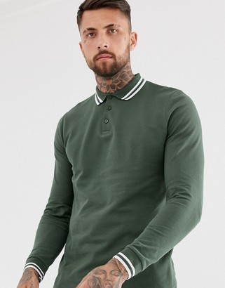 ASOS DESIGN long sleeve tipped pique polo shirt in khaki