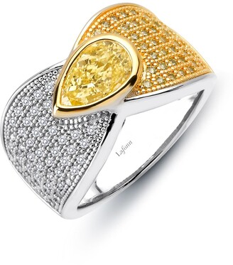 Lafonn Platinum Over Sterling Silver Pear-Cut Simulated Diamond Micro Pave Two-Tone Ring