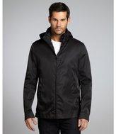 Prada black nylon blend interlined optional hooded jacket