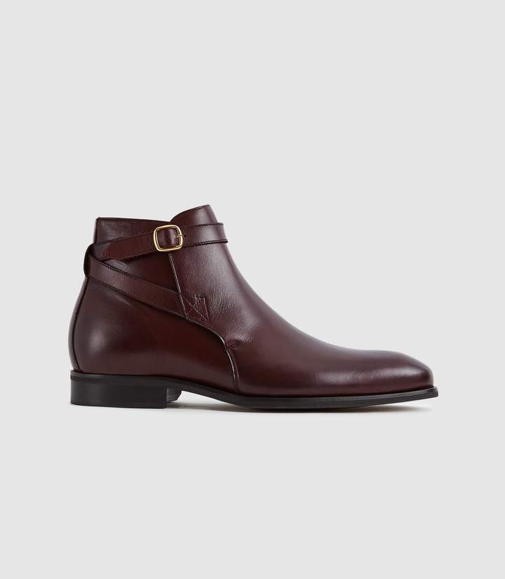 Reiss KEEPER LEATHER JODPHUR BOOTS Bordeaux