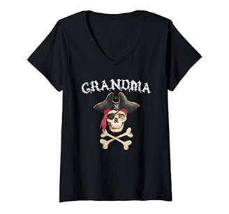 Womens Pirate Grandma Halloween Skull Eye Patch Crossbones V-Neck T-Shirt