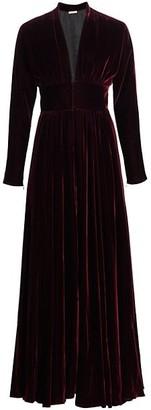 Alaia Deep V-Neck Velvet Pleated Gown