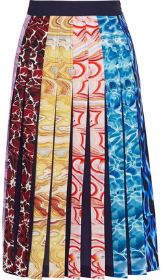 Mary Katrantzou Nyx Pleated Printed Crepe Skirt