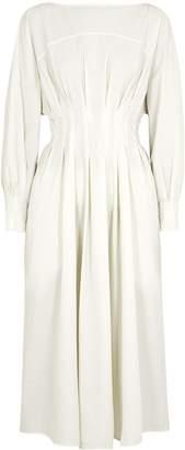 Mark Kenly Domino Tan Davida Ivory Seersucker Midi Dress