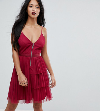 ASOS Tiered Mini Cami Dress with Zip Front