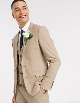 ASOS DESIGN skinny suit jacket in stone