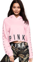 PINK Cropped Lace-Up Pullover