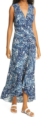 Jonathan Simkhai Palm Print High/Low Maxi Dress