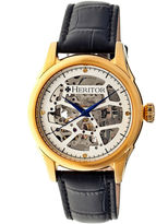 Heritor Automatic Nicollier Mens Skeleton Dial Leather-Gold/Black Watches