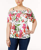 INC International Concepts Plus Size Floral-Print Off-The-Shoulder Top, Created for Macy's