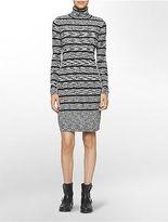 Calvin Klein Womens Heathered Striped Turtleneck Sweater Dress Black/Winter
