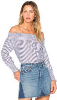 Central Park West Vero Beach Off Shoulder Top in Blue. - size L (also in M,S,XS)