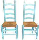 One Kings Lane Vintage Ladderback Chairs - Set of 2 - House of Charm Antiques - blue/amber