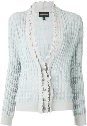 Emporio Armani Ruffle Knit V-Neck Cardigan