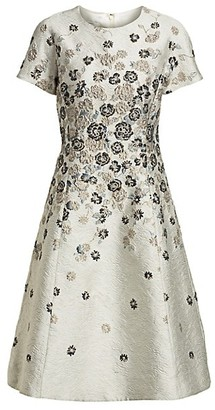 Teri Jon by Rickie Freeman Floral Jacquard A-Line Dress