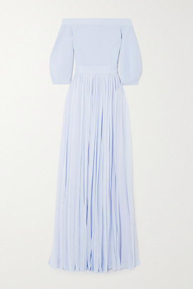 Alexander McQueen Off-the-shoulder Ribbed-knit And Crepe De Chine Gown - Blue