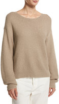 Vince Textured Cotton Pullover, Light Brown